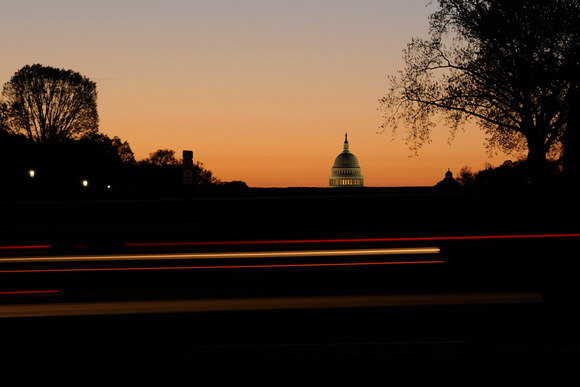 Sunrise behind the Capitol